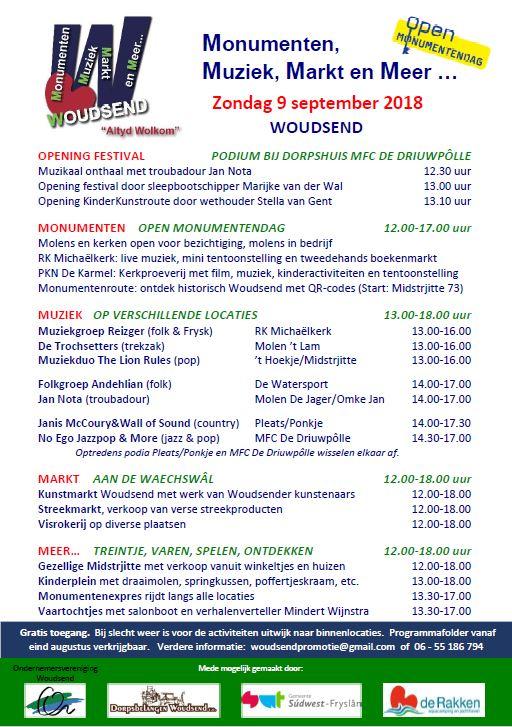 Programma Festival MMM Woudsend 9 sept 2018